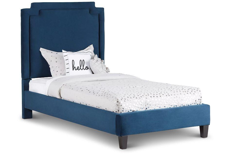 Whitney Dark Blue Uph Platform Bed