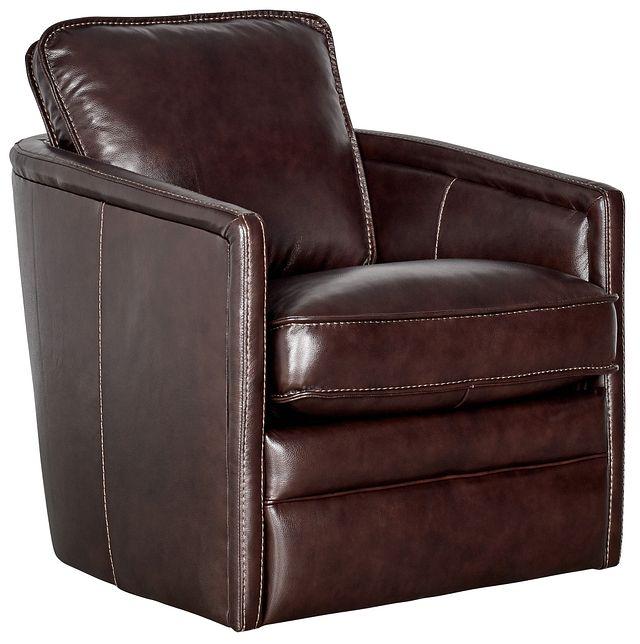 Alexander Dark Brown Leather Swivel Chair (0)