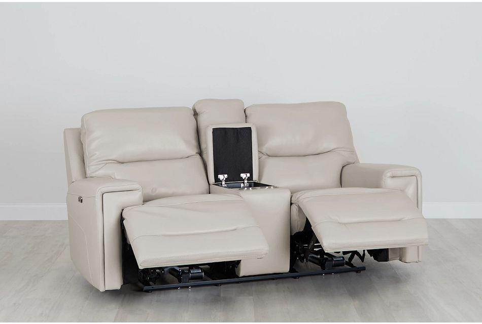 Porto Beige Lthr/vinyl Power Reclining Console Loveseat, %%bed_Size%% (0)