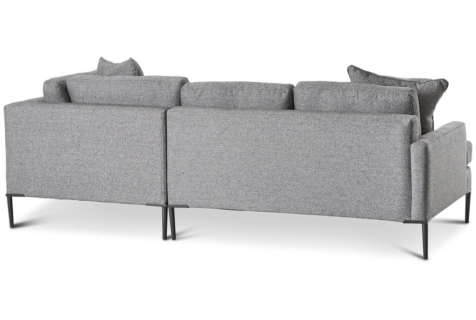 Morgan Dark Gray Fabric Small Right Bumper Sectional W/ Metal Legs