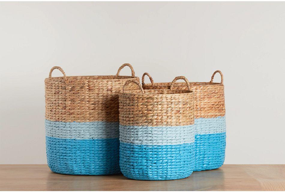 Bailey Set Of 3 Blue Basket,  (0)