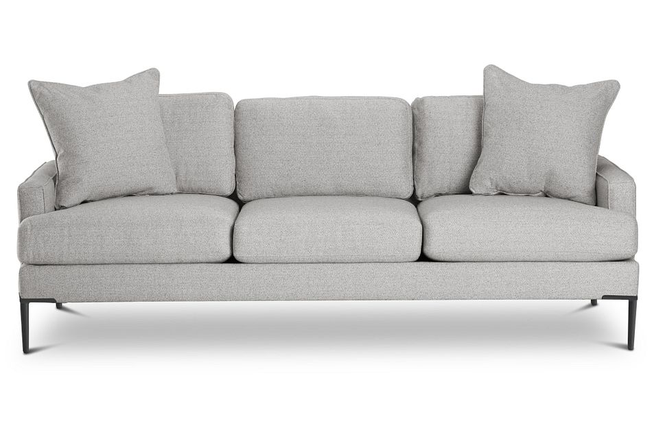 Morgan Light Gray Fabric Sofa With Metal Legs