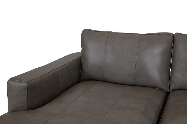 Dawkins Gray Leather Small Left Chaise Sectional
