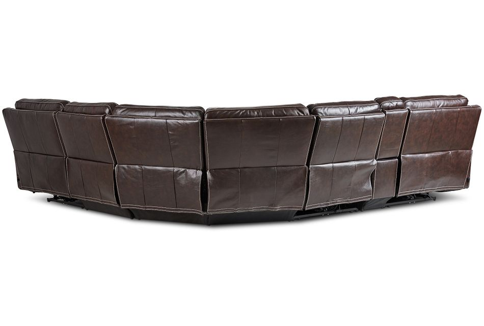 Valor Dark Brown Leather Medium Triple Power 2-arm Sectional