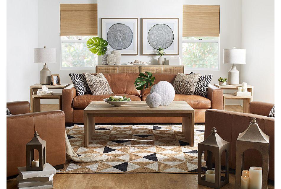 """Bohan 103"""" Brown Leather Sofa"""