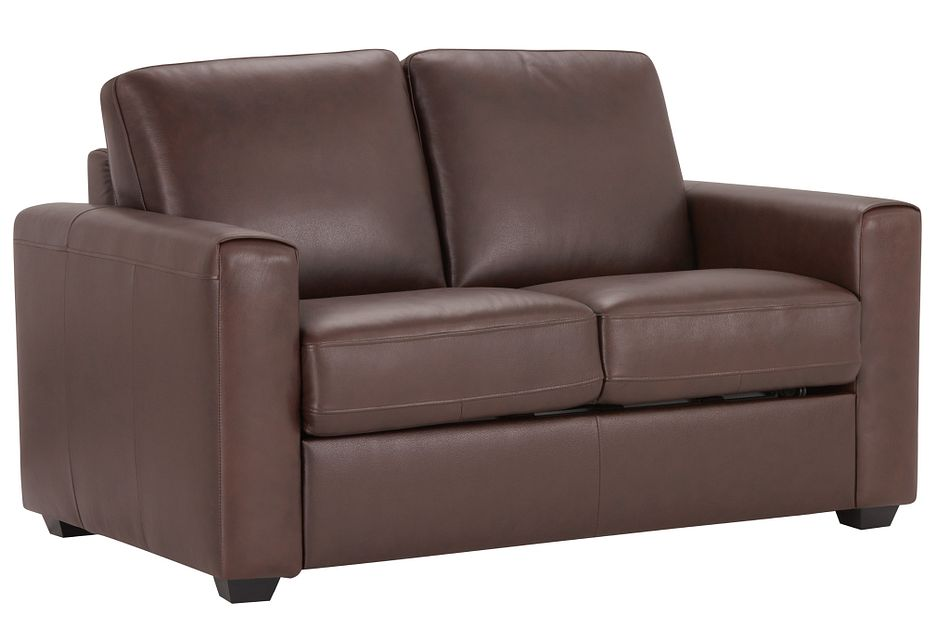 Lane Medium Brown Lthr/vinyl Memory Foam Sleeper