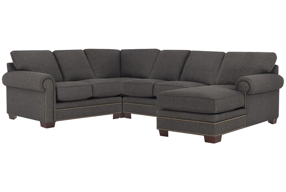 Foster Dark Brown Fabric Medium Right Chaise Sectional
