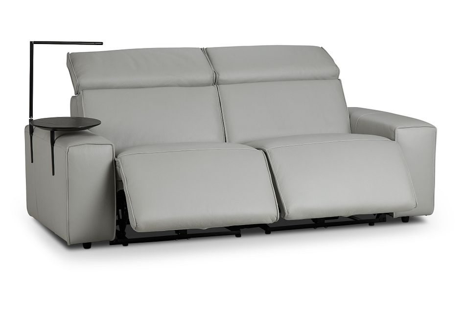 Carmelo Gray Leather Power Reclining Sofa With Left Table