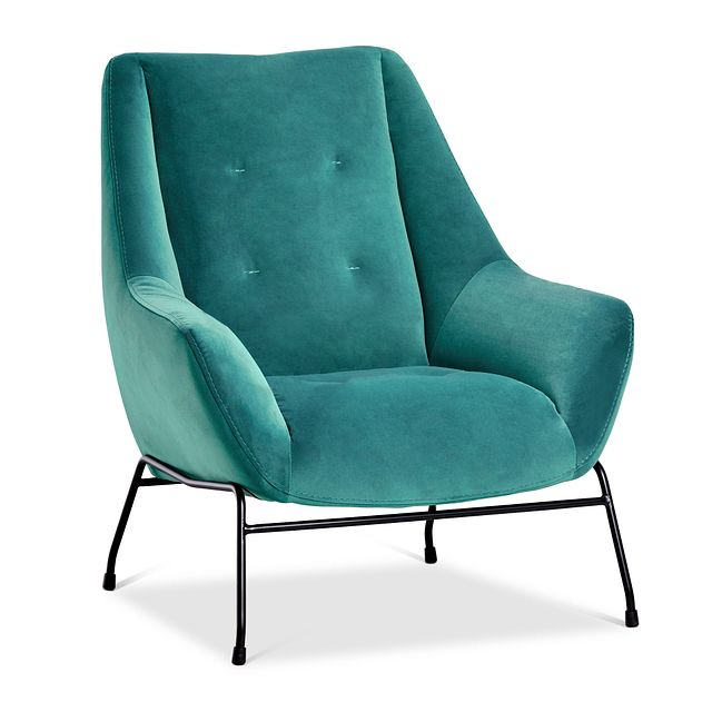 Xena Teal Velvet Accent Chair (1)
