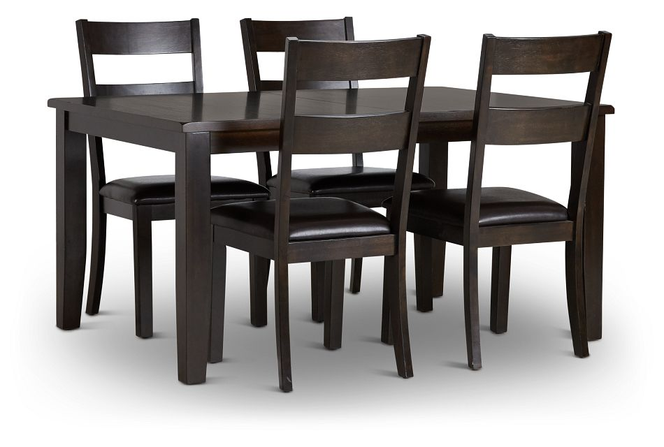 Navarro Dark Tone Rect Table & 4 Chairs