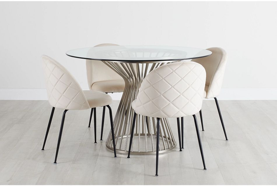 Munich Silver Glass Table & 4 Upholstered Chairs,  (0)
