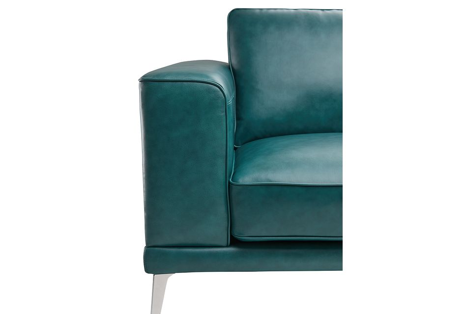 Naples Turquoise Leather Loveseat With Metal Legs