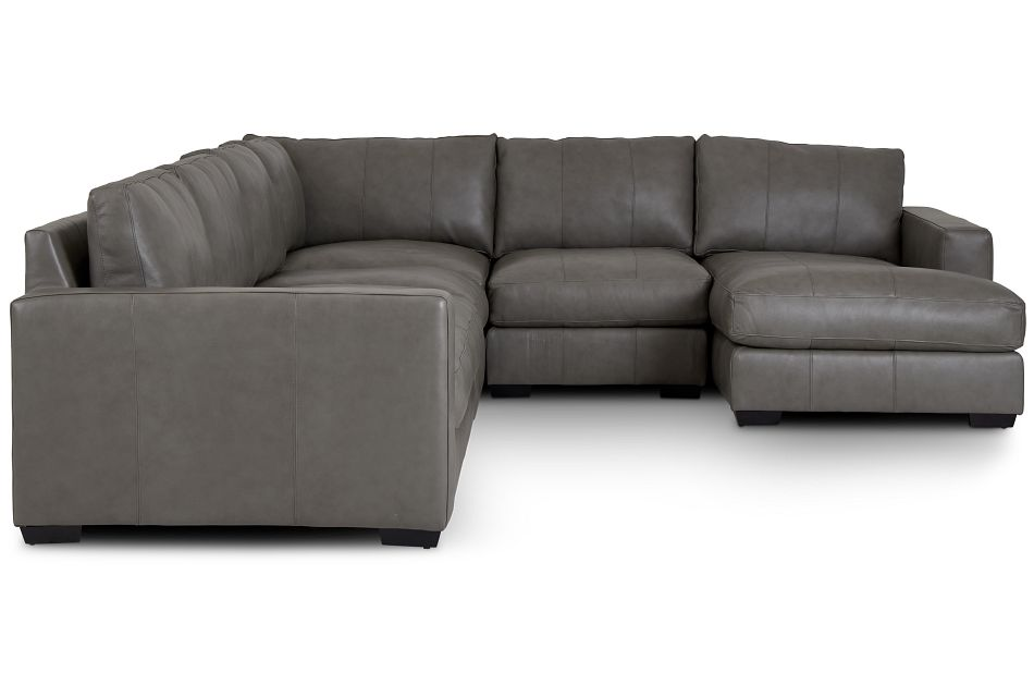 Dawkins Gray Leather Large Right Chaise Sectional,  (1)