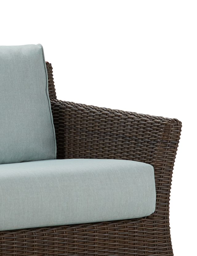 Southport Teal Woven Loveseat (3)