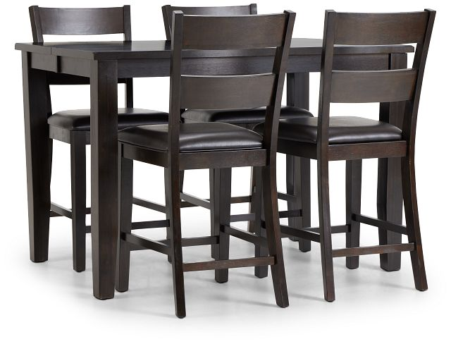 Navarro Dark Tone High Table & 4 Barstools (1)