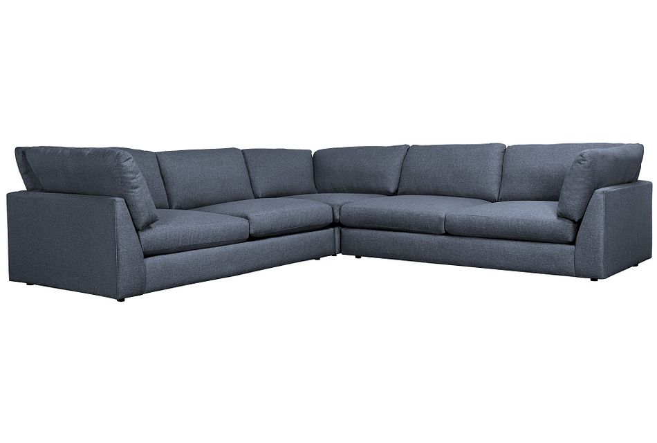Harper Dark Blue Fabric Two-arm Sectional