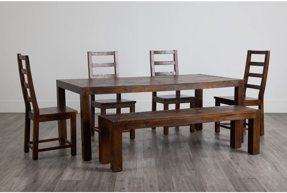 Seattle Dark Tone Rect Table, 4 Chairs & Bench,  (0)