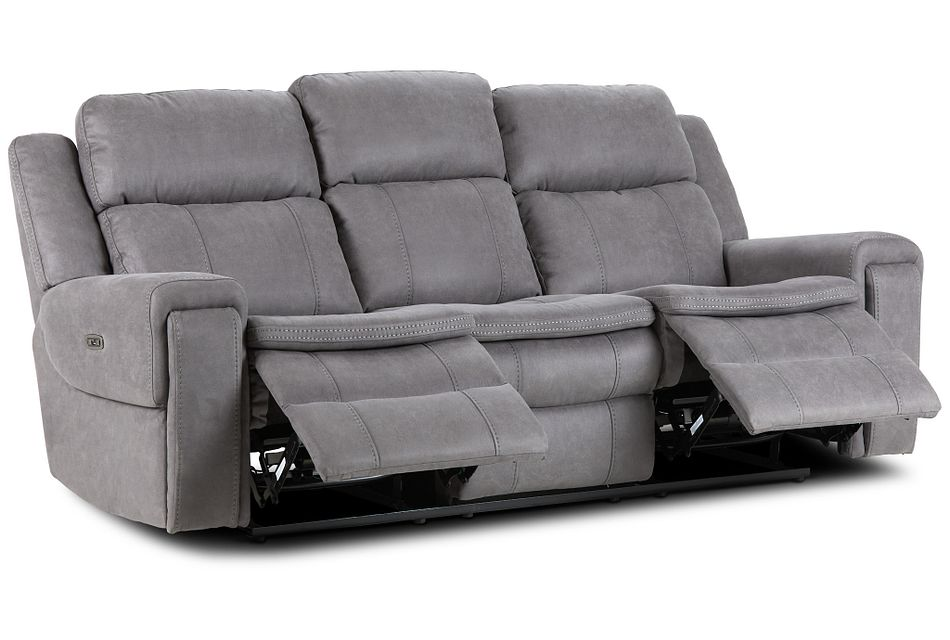 Scout Gray Micro Power Reclining Sofa