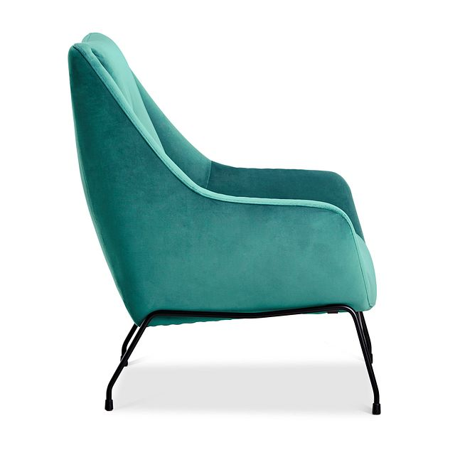 Xena Teal Velvet Accent Chair (2)
