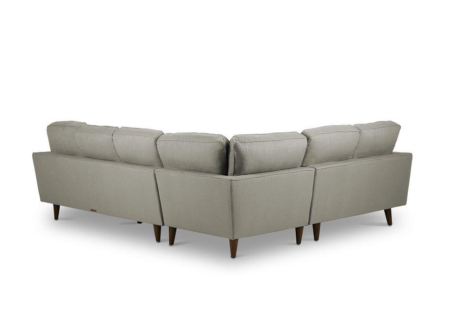 Mid-Century Modern Light Gray  FABRIC Medium 2-Arm Right Facing Sofa Sectional