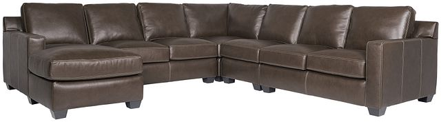 Carson Dark Brown Leather Large Left Chaise Sectional (0)