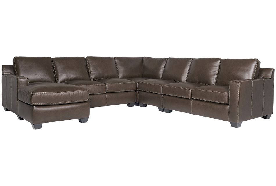 Carson Dark Brown Leather Large Left Chaise Sectional