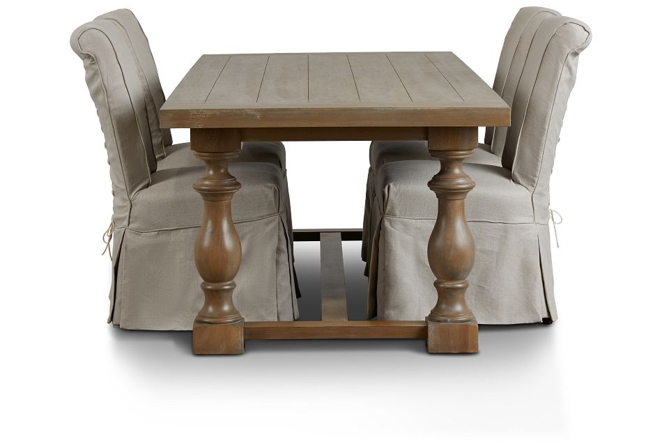 Haddie Light Tone Trestle Table & 4 Skirted Chairs