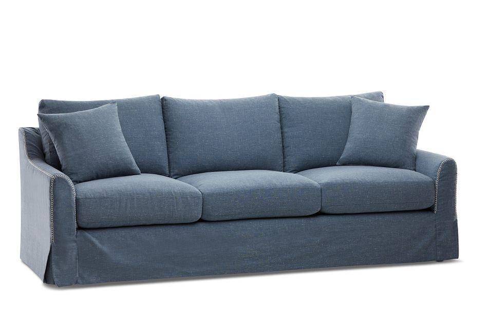 Madelyn Blue Fabric Sofa