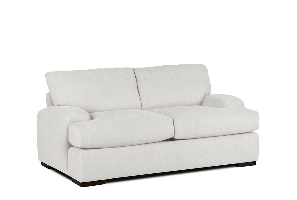Alpha White Fabric Loveseat