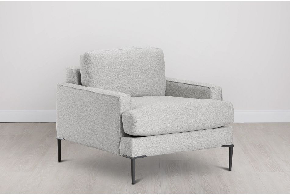 Morgan Light Gray Fabric Chair With Metal Legs