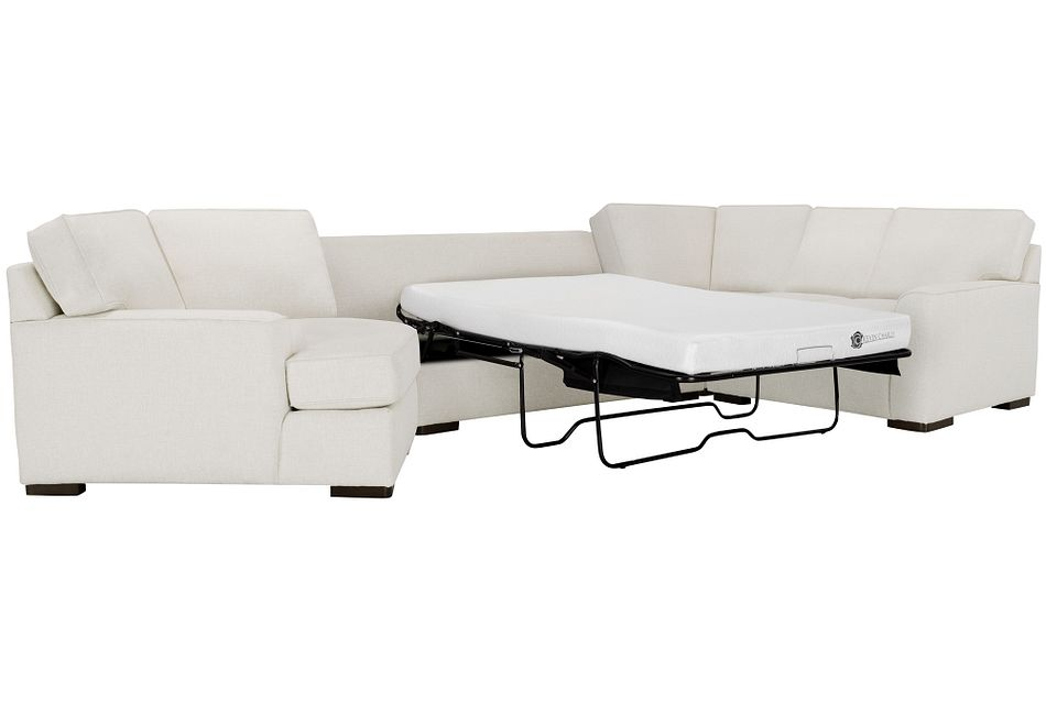 Austin WHITE FABRIC Left Cuddler Memory Foam Sleeper Sectional