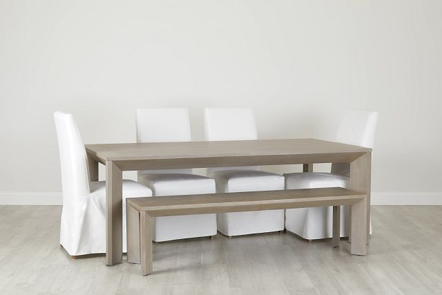 """Destination Light Tone 84"""" Table, 4 Chairs & Bench (0)"""