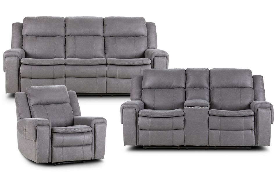 Scout Gray Micro Power Reclining Living Room