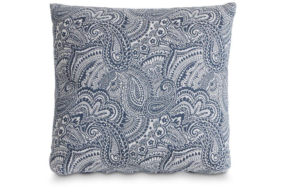 "Venezia Dark Blue Fabric 18"" Accent Pillow,  (1)"