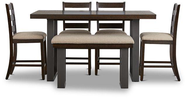 Sawyer Dark Tone High Table, 4 Barstools & High Bench (3)