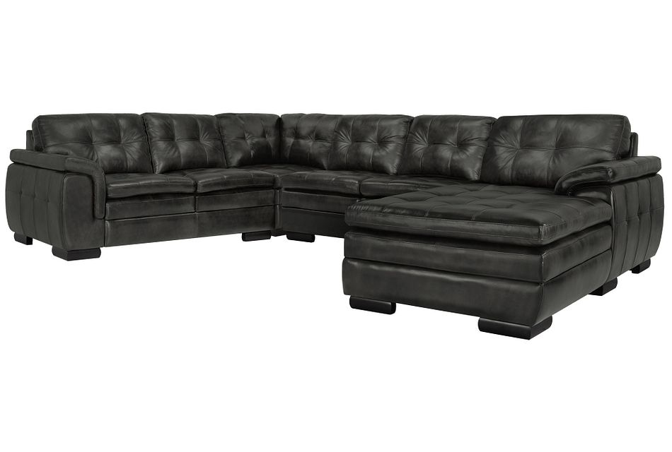Trevor Dark Gray Leather Small Right Chaise Sectional