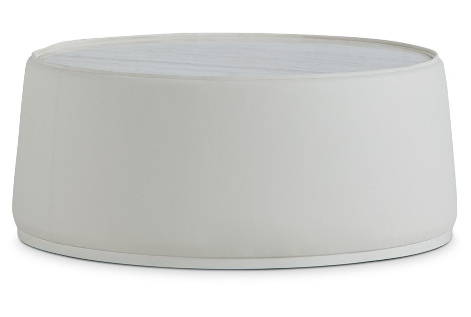 Ocean Drive White Marble Round Coffee Table