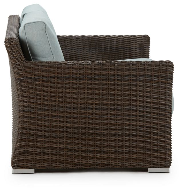 Southport Teal Woven Loveseat (1)