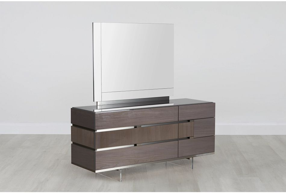 Athena Dark Gray Dresser & Mirror