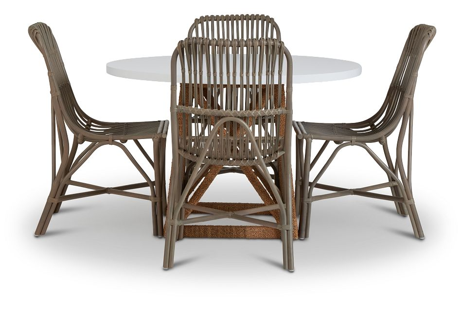 Greenwich Two-Tone Round Table & 4 Gray Rattan Chairs,  (3)