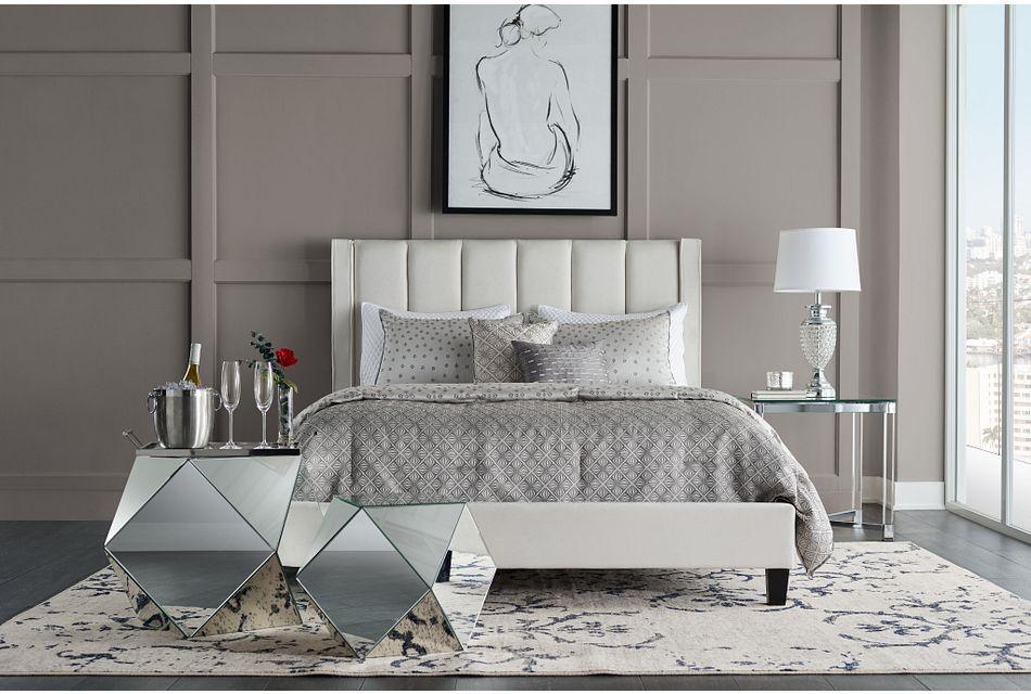 Audrey Beige Velvet Platform Bed, Queen (1)