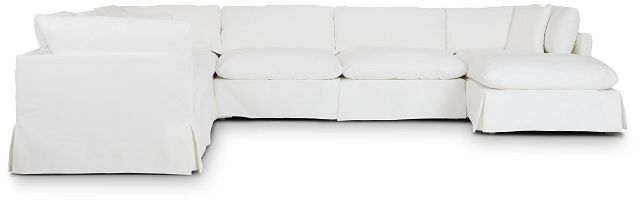Raegan White Fabric Large Right Chaise Sectional (0)