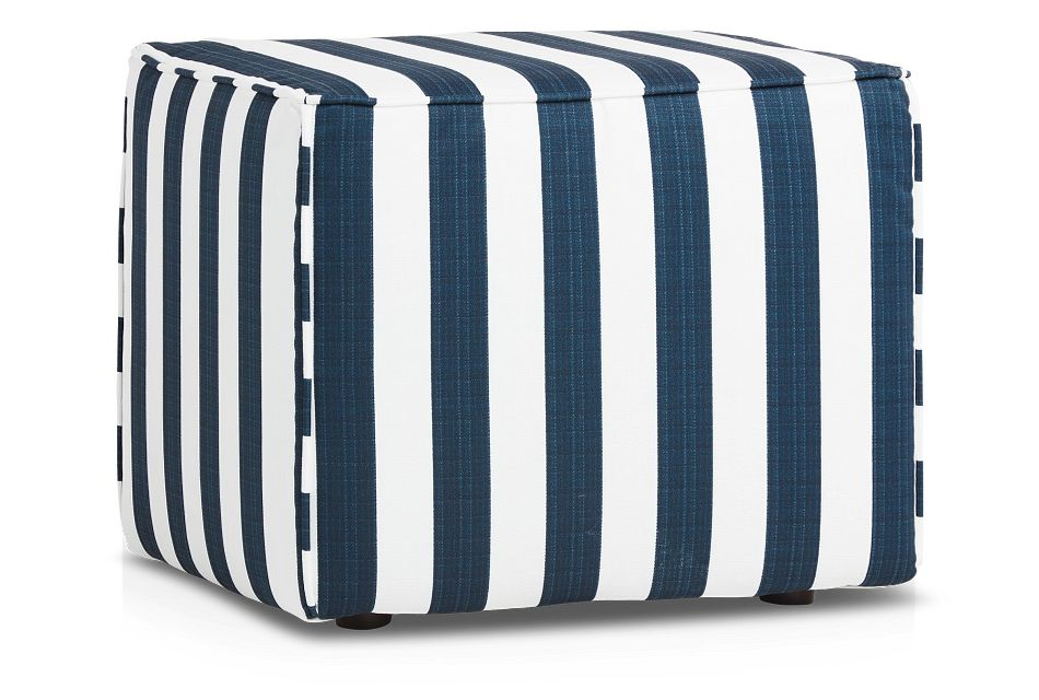 Stripe Blue Stripe Indoor/outdoor Accent Ottoman