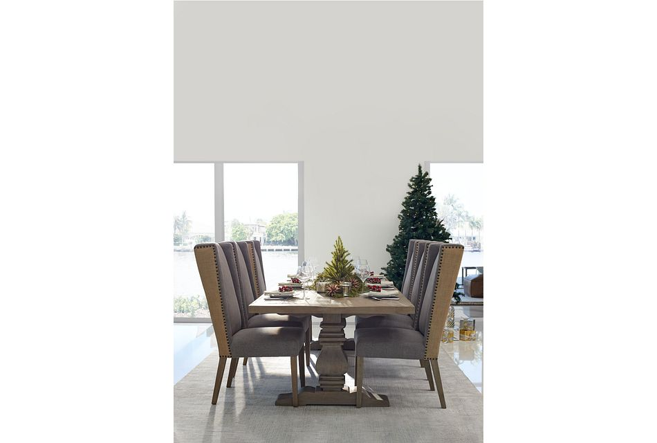"Hadlow Gray 95"" Table & 4 Tufted Chairs"