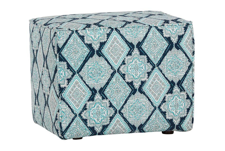 Milan Blue Fabric Indoor/outdoor Accent Ottoman