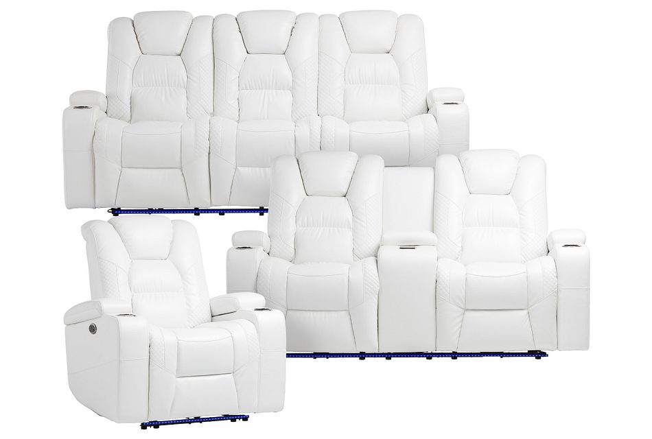 Troy White Micro Power Reclining Living Room