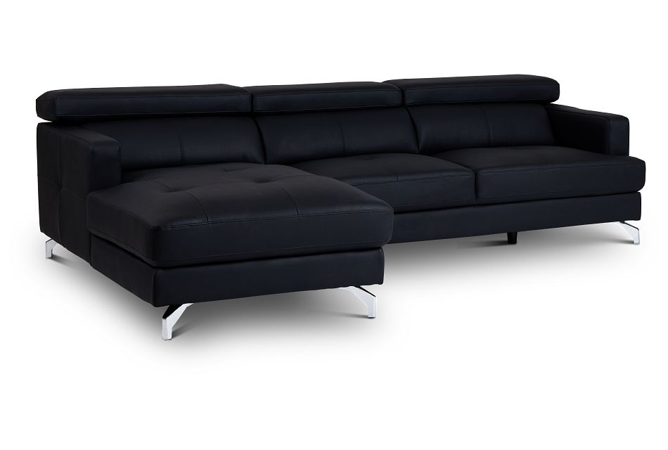 Marquez Black Micro Left Chaise Sectional,  (1)