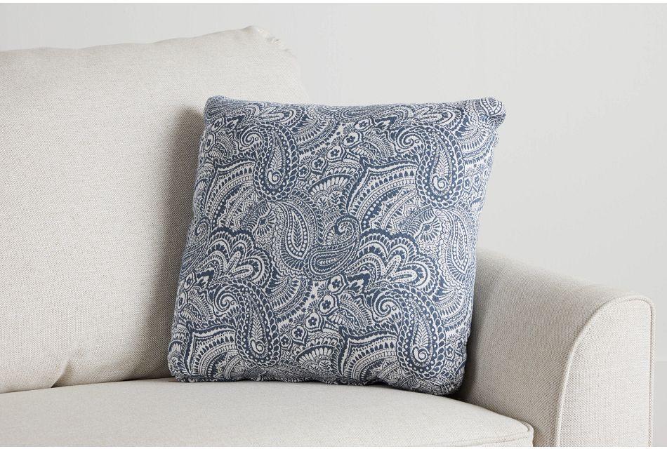 "Venezia Dark Blue Fabric 18"" Accent Pillow,  (0)"