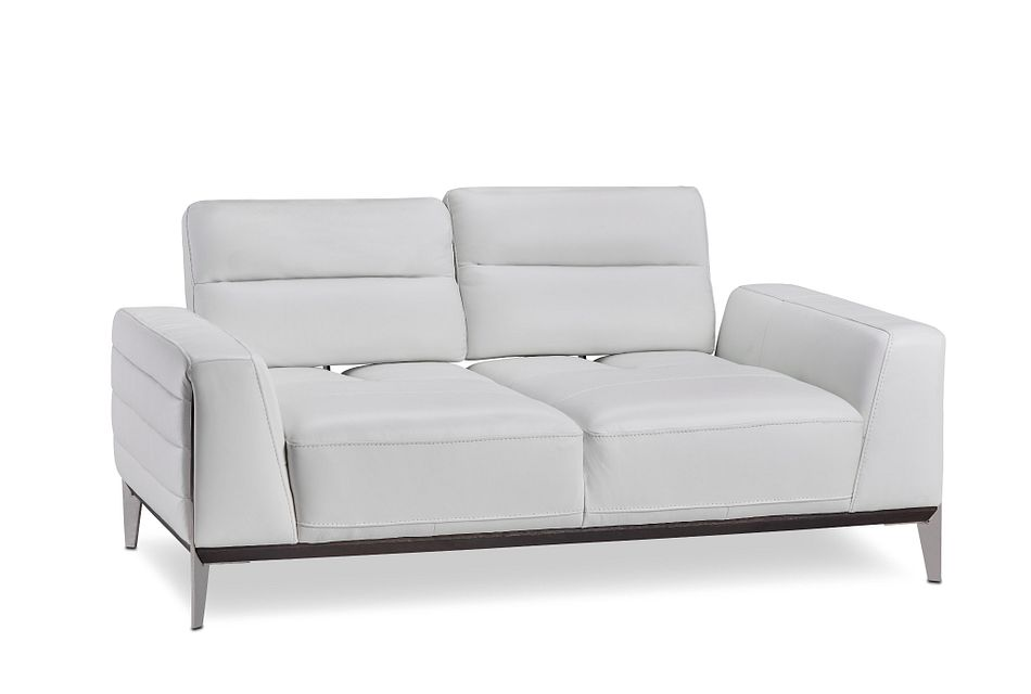 Gatlin White Leather Power Push Back Loveseat