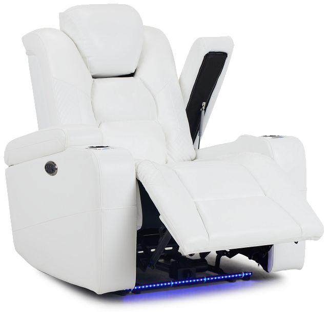 Troy White Micro Power Recliner With Power Lumbar (3)